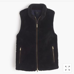 J Crew Black Plush fleece excursion vest M